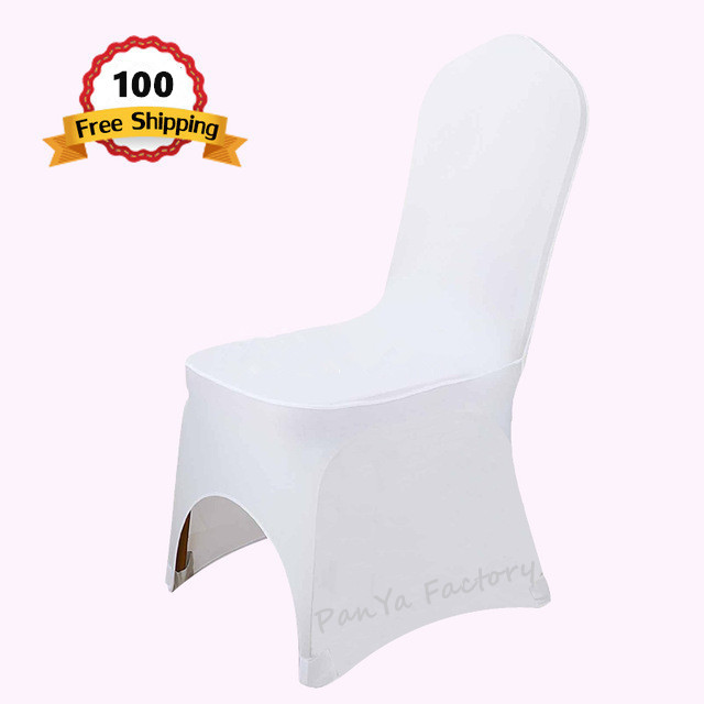100 PCS Universal White Stretch Polyester Wedding Party Spandex Decor Chair Covers for Weddings Banquet Hotel