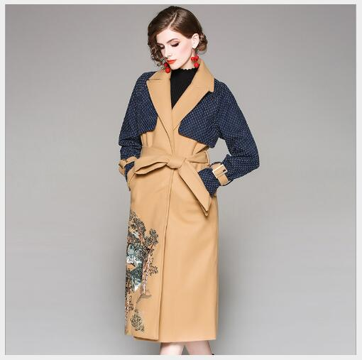 8b088b0ee9 Automne Vers Broderie Camel Femmes Long Trench 2018 Style Manches Casual  Femme Contraste Nouveau Tournent Bas ...