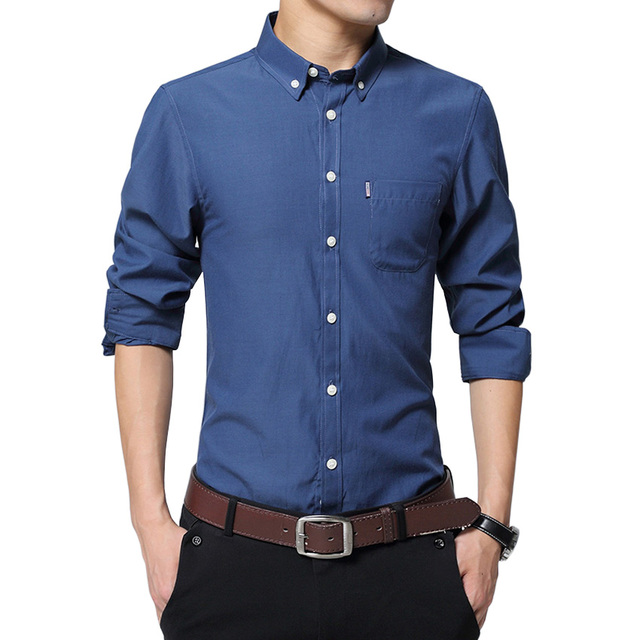 2017 Del Otoño Del Resorte Nuevos Hombres Camisas Casuales de Manga Larga Patchwork Collar Button-Up Slim Fit Color Sólido Oxford Hombres Camisa de vestir
