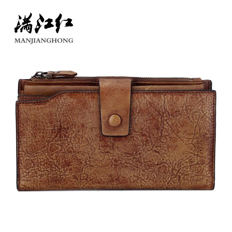 2019 hommes Vintage en cuir véritable sacs à main hommes cartes organisateur téléphone portable pochettes nouveau Design garçon Long café monnaie portefeuilles 1618
