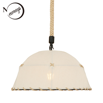 Art deco country fabric white pendant light LED E27 simple loft hanging lamp for lobby cafe shop living room bedroom restaurant