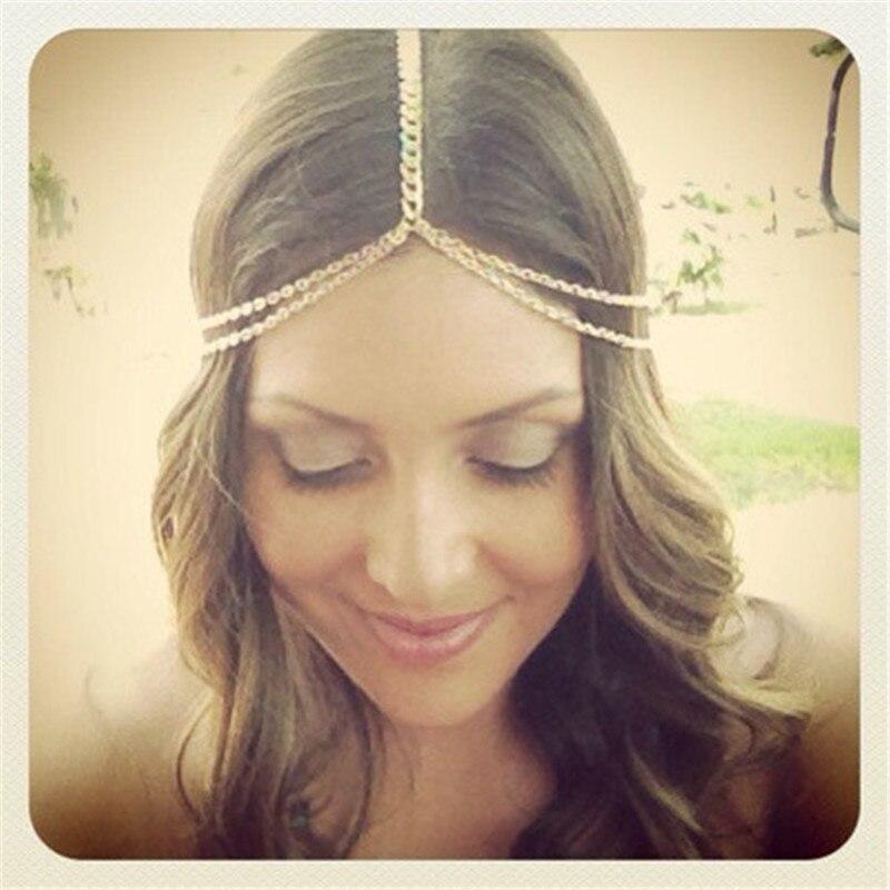 2015 New Fashion Plated Gold Head Chain Pieces Women Boho Headpiece