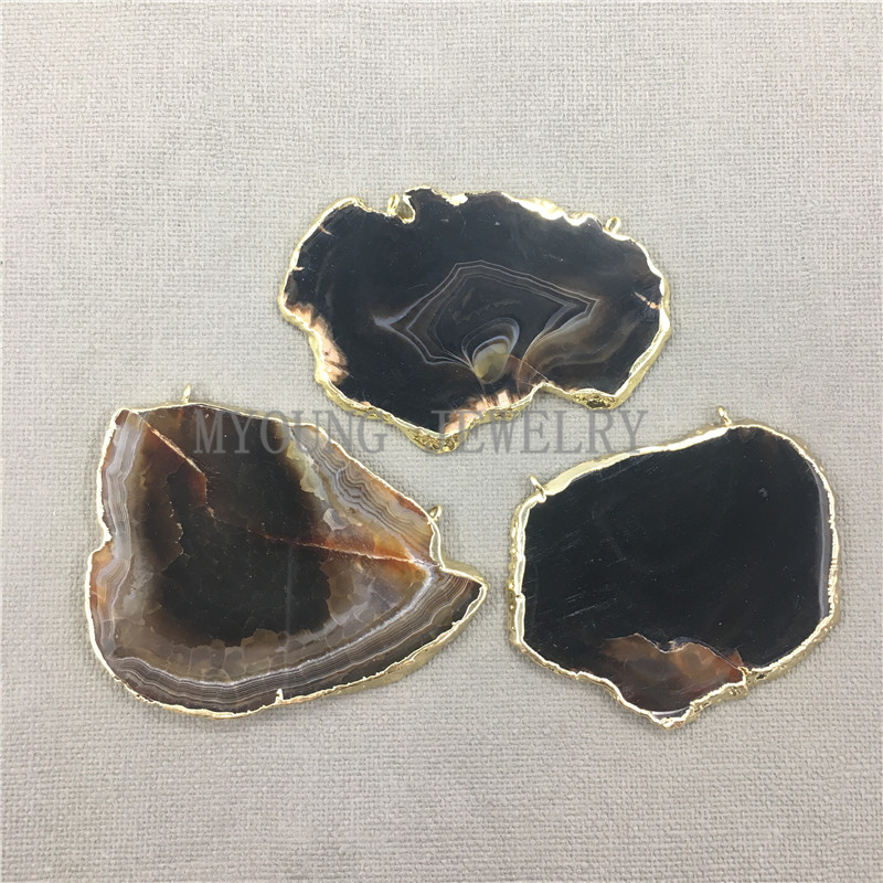 MY0642 Free Form Agates Slab Slice Pendant Onyx Flat Pendant With Gold Color Edge and Bail