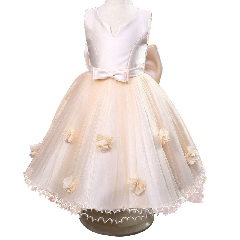 High quality Flower Bridesmaid  Girl Dress Mesh Trailing bowknot Girls Wedding Dress For Girls Children's Princess Dresses 3-12Y high grade princess wedding dress europe and america flower girl dress for girls white for 0 12 yesrs