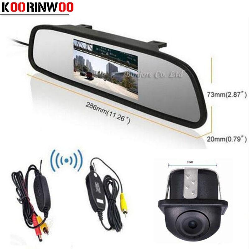 Koorinwoo Wireless 4.3 Inch Digital Screen LCD Car Rear view Mirror Monitor Video Input CCD HD Waterproof Car Rear View Camera