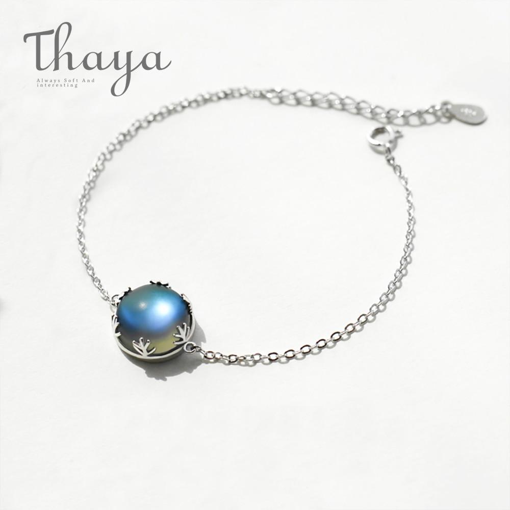 Thaya Original Design Aurora Mondstein Wald Kissen Damen Armbänder 925 Silber Maßstab licht Armband Weibliche Einfache schmuck