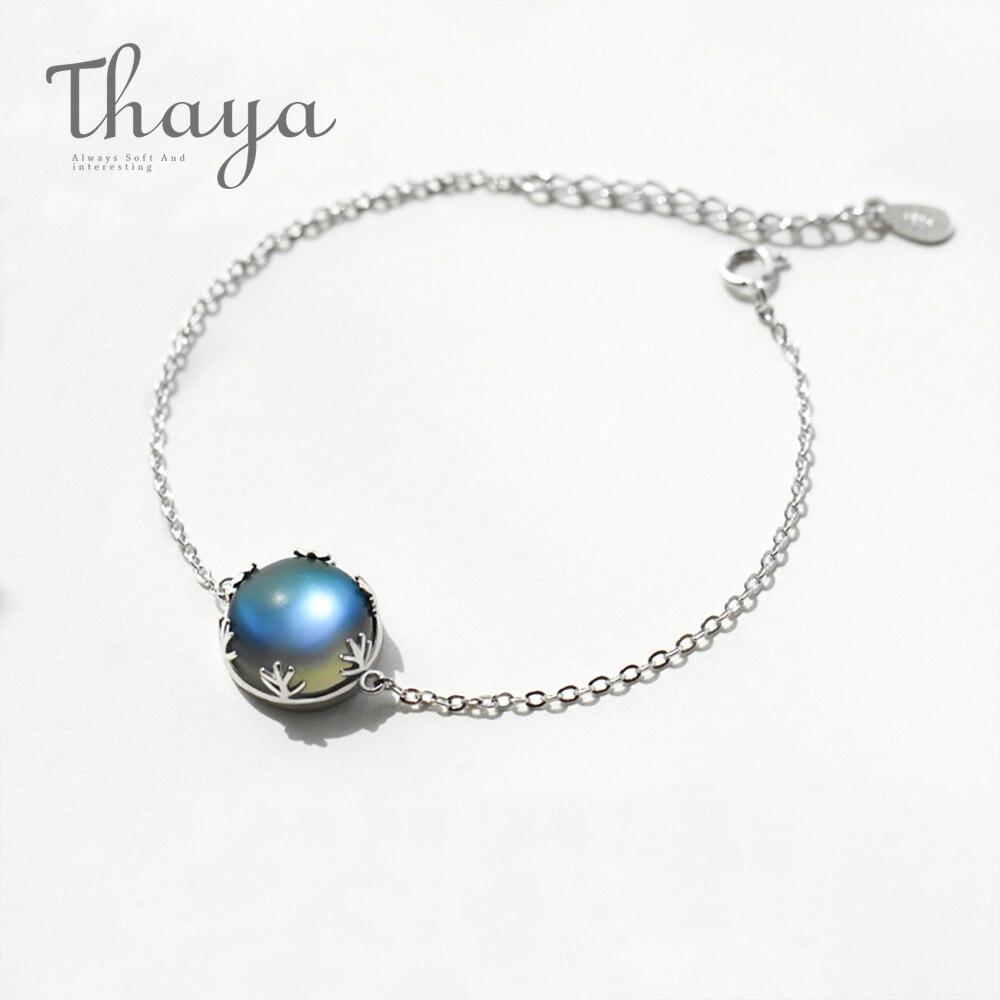 Thaya diseño Original Aurora piedra bosque cojín de pulseras de plata 925 escala luz pulsera mujer joyería Simple