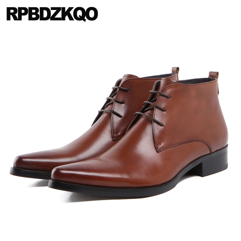 Pointed Toe Oxford Plus Size Brown Lace Up Shoes Formal Booties Ankle High Top Chunky Mens Zipper Dress Boots Full Grain Leather 2016 luxury brand mens high top flats shoes vintage full leather lace up ankle boots tialian handmade elegant mens formal shoes