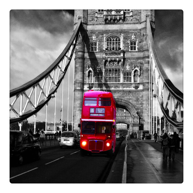 Black and white red bus on london bridge wall picture canvas art oil painting stretched ready