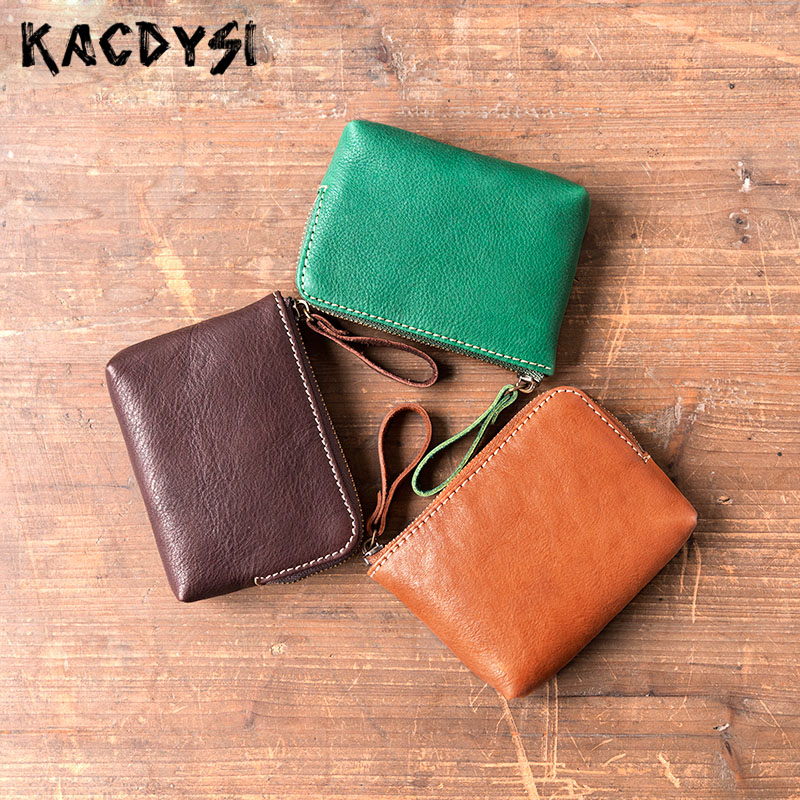 First Layer Genuine Leather Unisex Men Small Coin Purse Pouch Money Pocket Cowhide Women Mini Coins Money Wallet Coin Bag Zipper pocket