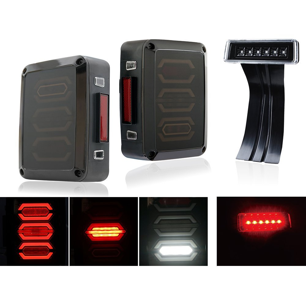 Marloo Wrangler Taillights Set Diamond Smoke LED Tail Light & Clear Lens Red 3rd LED Brake Light For Jeep Wrangler JK JKU auxmart 22 led light bar 3 row 324w for jeep wrangler jk unlimited jku 07 17 straight 5d 400w led light bar mount brackets