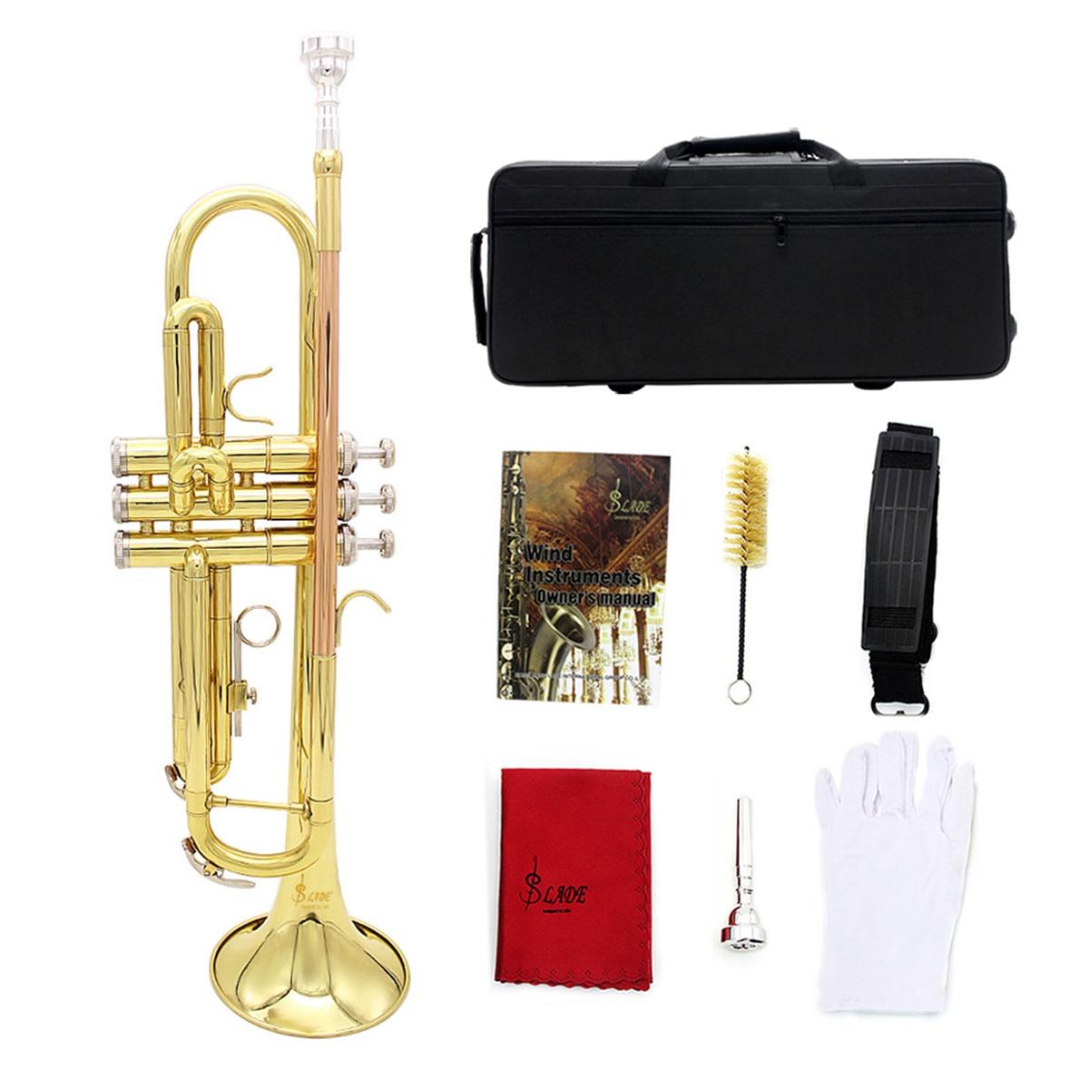 Профессиональные латунные Музыкальные инструменты труба с сумкой латунная Золотая труба цифровая Механическая сварочная труба музыка принимает - 3