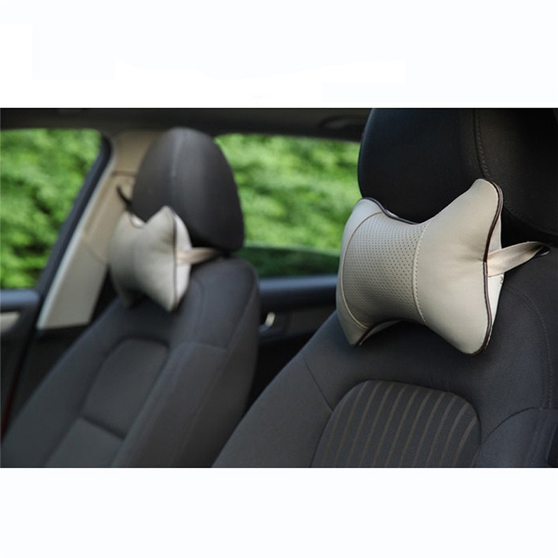 1pcs Universal Car Neck Pillows PVC Leather Breathable Mesh Auto Car Neck Rest Headrest Cushion Pillow Car Interior Accessories 2