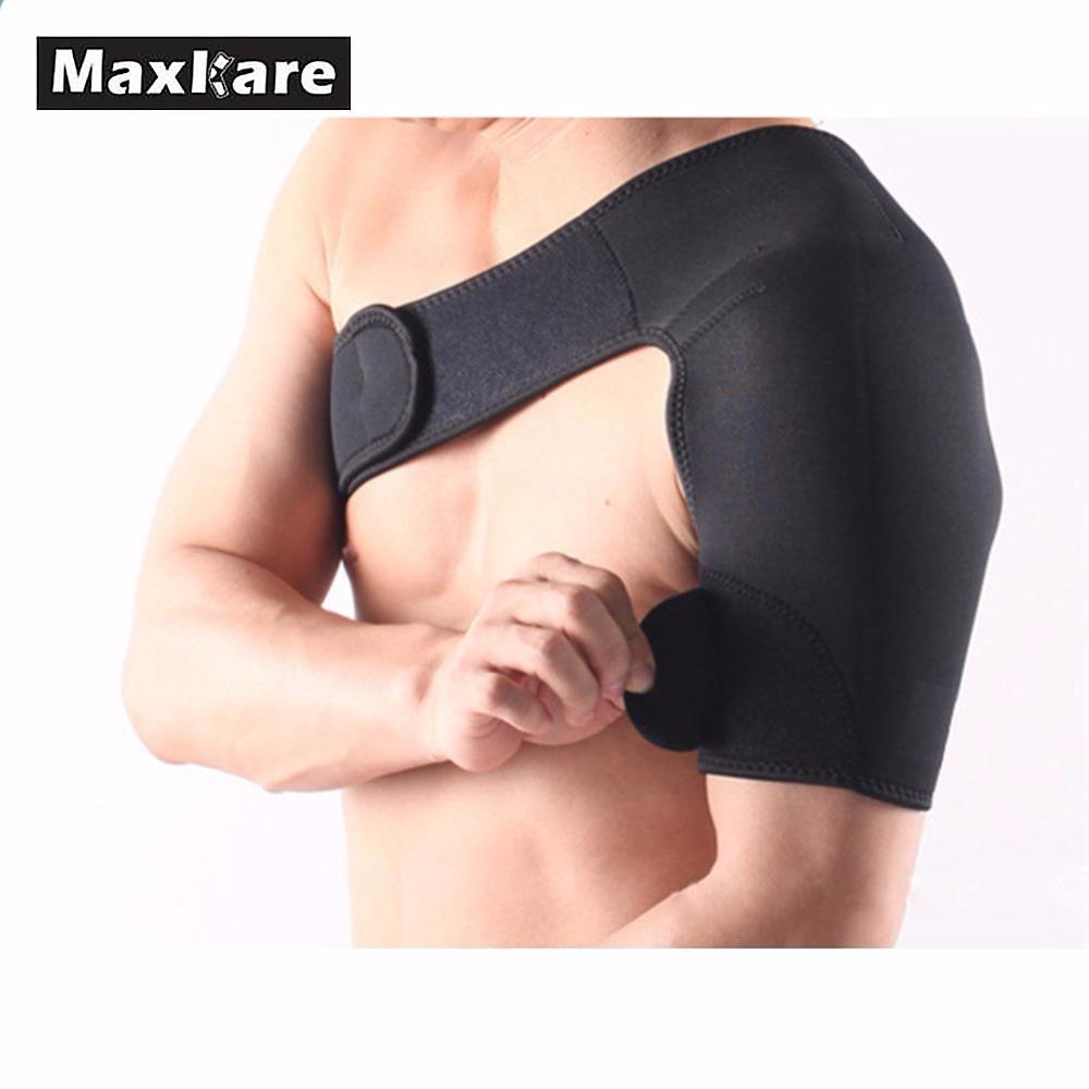 Men Women Gym Sports Shoulder Support Back Care Brace Adjustable Single-side Guard Strap Wrap Belt Band Pads Protector Bandage