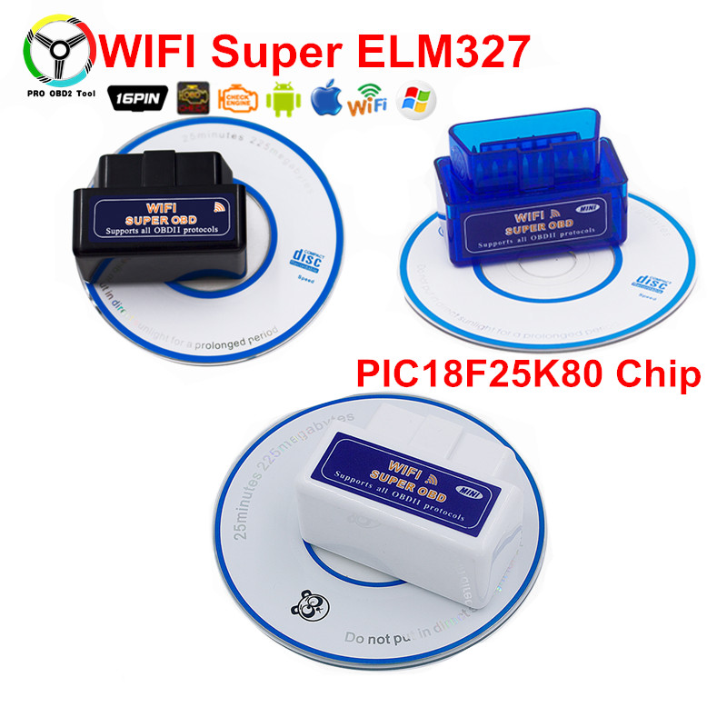Super Elm327 WiFi PIC18F25K80 Interface OBD II ELM 327 Car Diagnostic Tool For Multi-brands Car Work on Android/iOS/ PC Phone