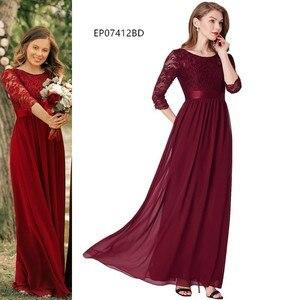 Image 5 - Kiedykolwiek dość burgundowe sukienki druhen długi szyfonowy aplikacja tanie piętro długość druhna ślubna suknia formalne sukienki na przyjęcie