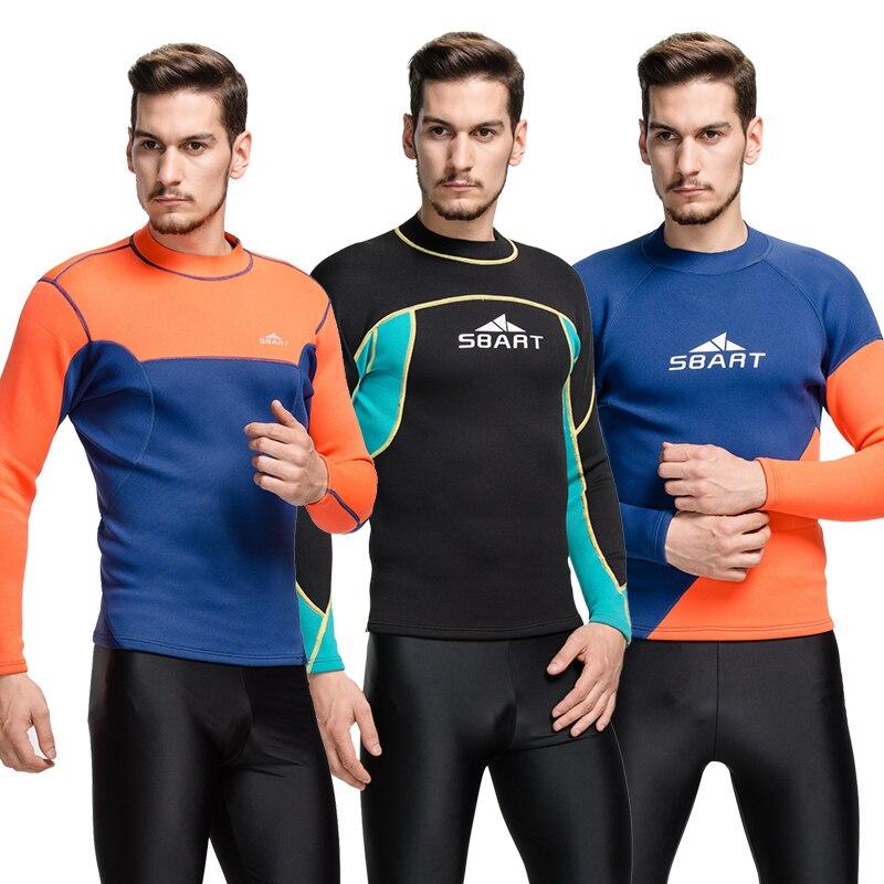 Mens 2mm Neoprene Wetsuit male winter Diving shirt cold-proof thermal surfing tops snorkeling suit swimwear orange blue black