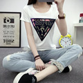 2017 Women Short Sleeve New Tees Cotton Sequined Female T-shirts Fashion Letters Printed T-Shirt Casual Hot Style T Shirt 62140