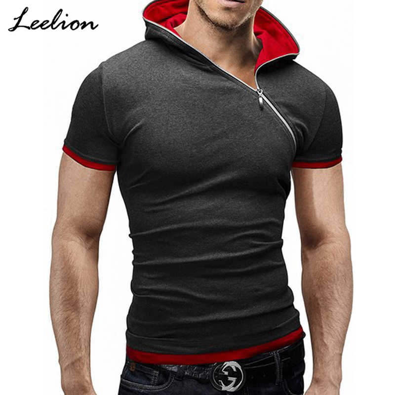 IceLion 2019 Side Zipper Hooded   T     Shirt   Men Summer Short Sleeve Fitness   T  -  shirt   Fashion Solid Slim Fit Men's Tshirt Plus Size