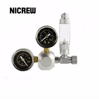 Nicrew Aquarium CO2 Regulator Tank Live Plant Flow Pressure Control Check Valve Bubble Counter Decompression Cylinder