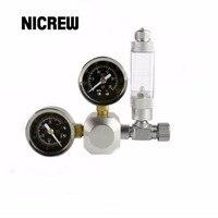 Nicrew Aquarium CO2 Regulator Tank Live Plant Flow Pressure Control Check Valve Bubble Counter Decompression Cylinder
