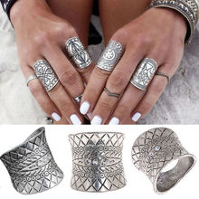 Vintage Turkish Beach Punk Zircon Rings Women Ethnic Carved Totem Antique Silver Boho Wide Midi Finger Ring Knuckle Charm anelli