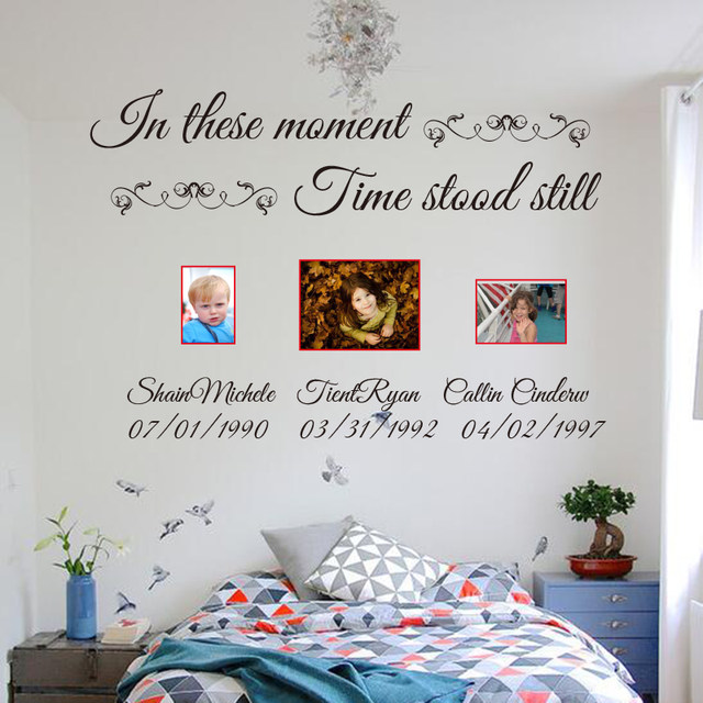 In These Moments Time Stood Still Custom Name Lettering Wall Decals Vinyl  Quotes Customized Name Wall Stickers Cut Vinyl C18