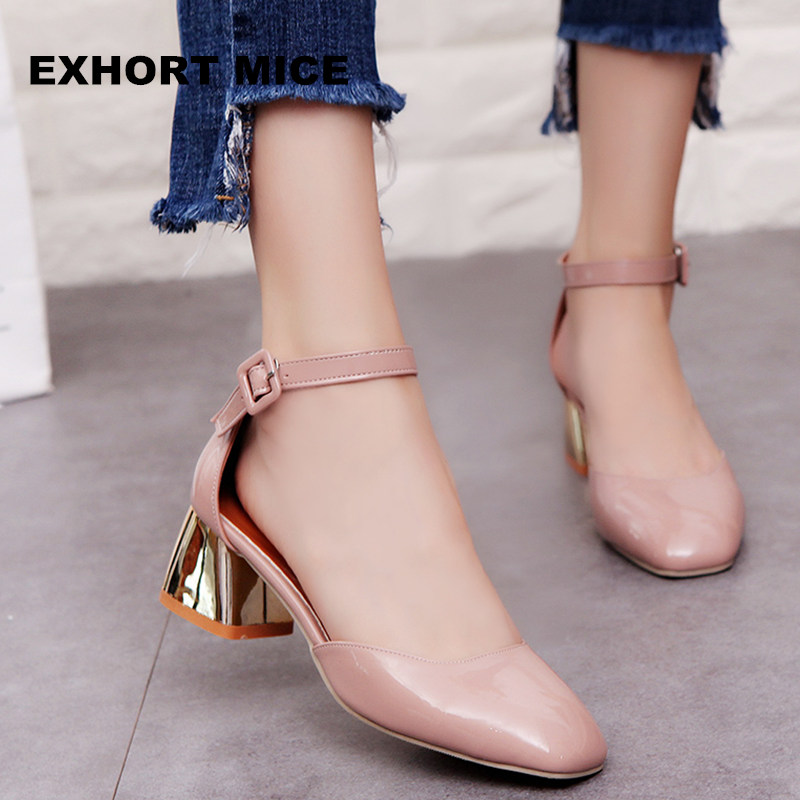 14bf58295a Zapatos Mujer Women Pumps Ankle Strap Thick Heel Women Shoes Square Toe Mid  Heels Dress Work