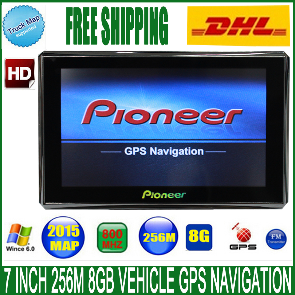 Free DHL shipping 7 inch Vehicle font b GPS b font Navigation 800M FM 8GB 256MB