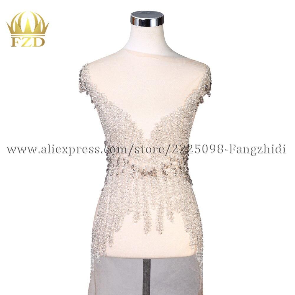 FZD 1 pièce chaude fixperlée Applique strass pierre avec perle appliques patchs pour bricolage robe de mariée et robe de soirée