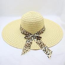 Leopard Print Big Brim Straw Hat Floppy Wide Sun Beach summer straw hat women foldable sun block UV protection Y703