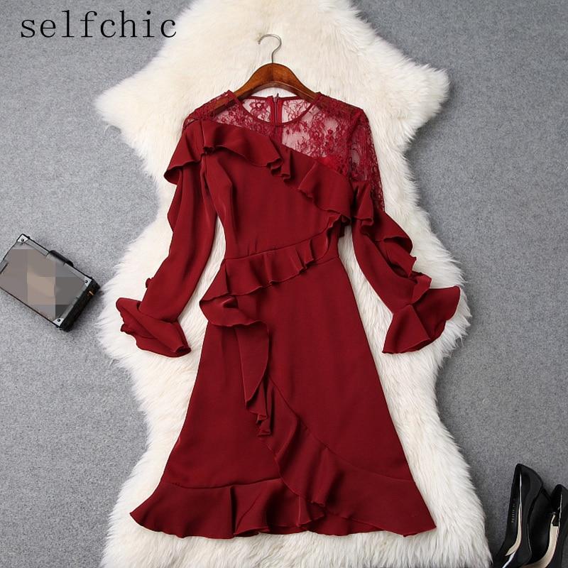 À Rouge Manches Vin Volants Nouveau Femmes Robe Dames 2019 Flare Fête De qxntwW