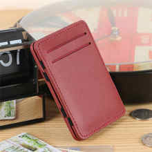 2016 Fashion New Designed Fashion Mini Neutral Magic Bifold Leather Card Holder Wallet Purse Money Hot Sale Waist Pack