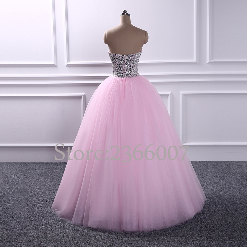 36dfb9f4cfb9 Elegant strapless Beaded prom dresses 2017 Sweetheart Ball Gown princess  style Tulle prom dress 2018 Custom made evening Gowns-in Prom Dresses from  Weddings ...