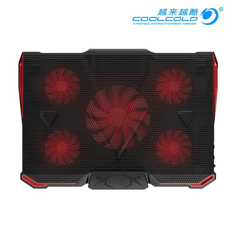 COOLCOLD 5 FAN 2 USB Laptop Cooling Pad Adjustable Notebook Cooler Holder for 12 17 Laptop
