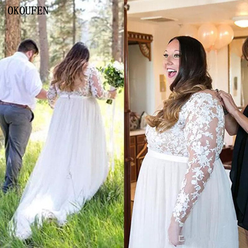 Plus Size Wedding Dresses 2019 Empire Long Sleeves Deep V-Neck Vestido De Novia Open Back Robe Mariage Garden Bridal Gowns 26 28