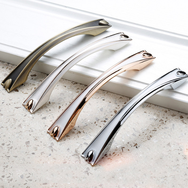 Chrome White Drawer Cabinet Door Handles and Knobs, Thickened Base and No Formaldehyde  Kitchen cabinets