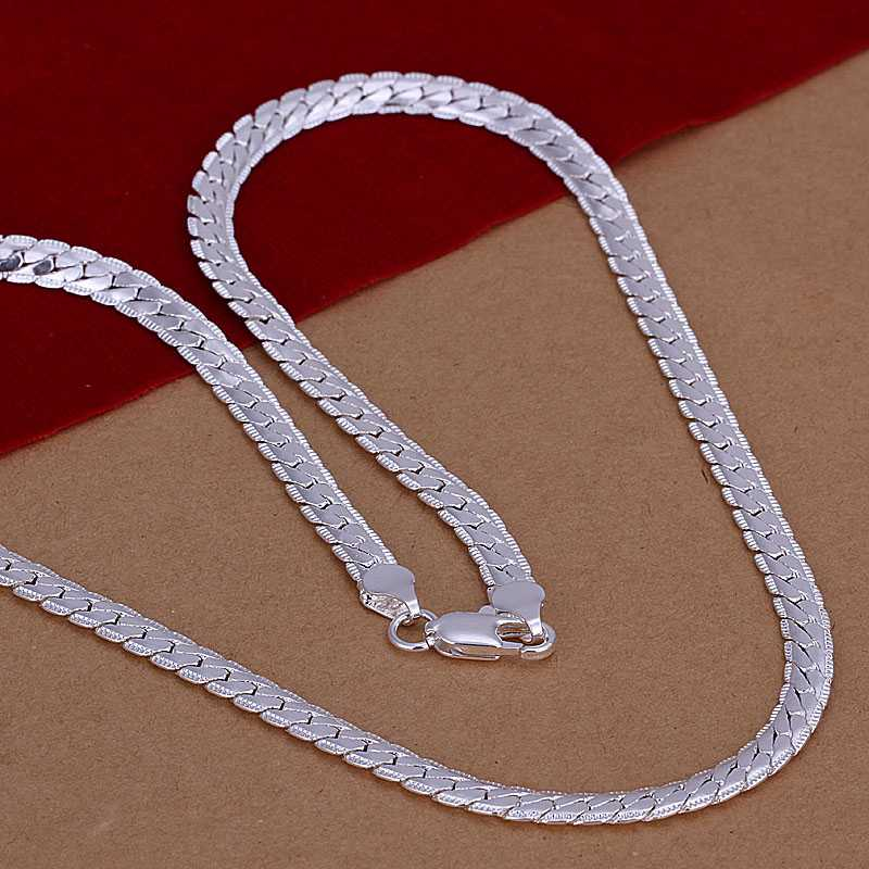 925 silver 6mm 18inch wide flat snake chain men popular long necklace wholesale