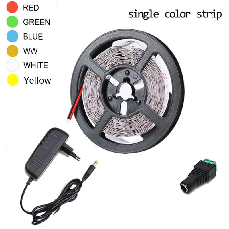 Taśmy led RGB taśmy LED 12 v 5 m 60 diod/m jeden kolor 3528 SMD taśmy LED zasilanie 12 V 2A elastyczna taśma RGB pasek taśmy