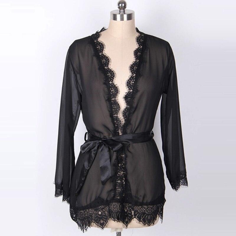 Womens Sleepwear Set Eyelash Lace Robe Sheer Mesh Kimono Nightgown Sexy Lingerie