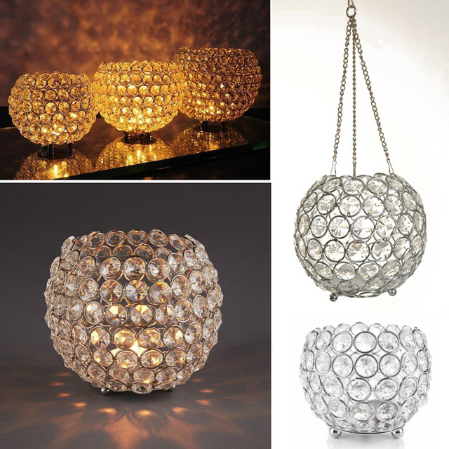 Crystal Globe Bling Tealight Votive Candle Holders Wedding Centerpieces Lamp