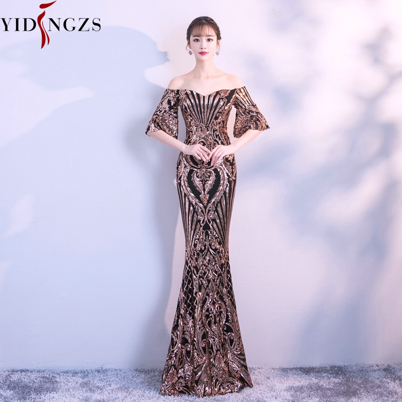 YIDINGZS New Flare Sleeve Black Gold Heavy Sequins   Dress   Boat Neck Formal Party Long   Evening     Dress