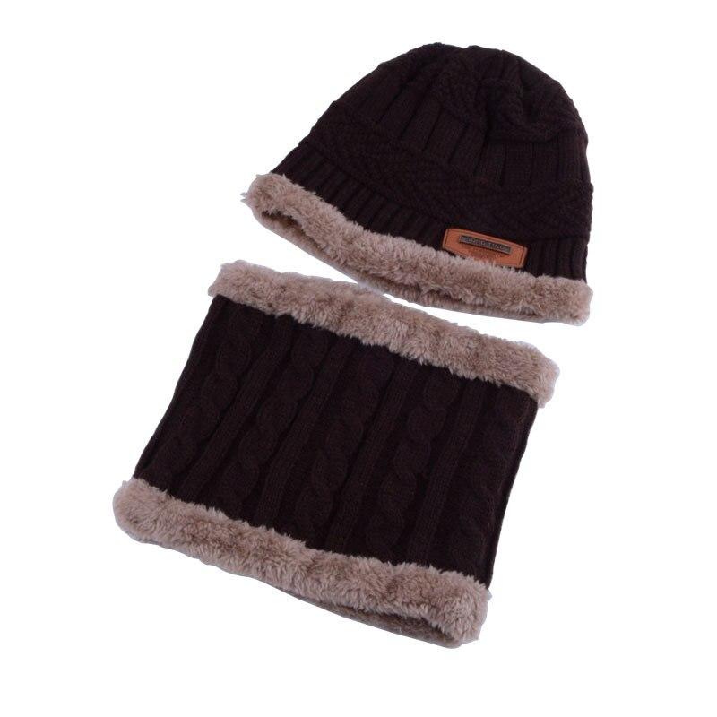 2018 Winter Boy Hat Scarf Set Solid Knitted Beanie Cap Thicken Warm Velvet Children Hat Hedging Caps Ski Soft Ring Scarf Kids