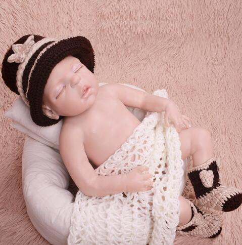 5d27f9909eb5 Handmade Cute Baby Infant Knitted Clothing Set cowboy Costume ...