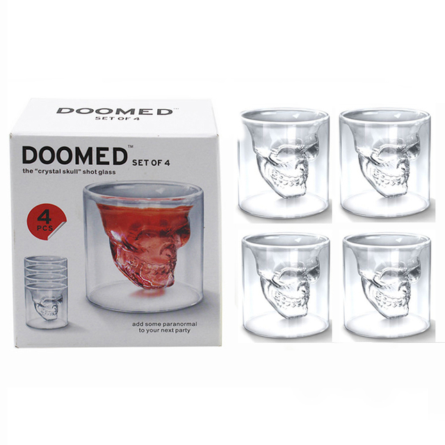 4pcs/set Double Layer Skull Glass Cup Set Crystal Skull Head Vodka ...