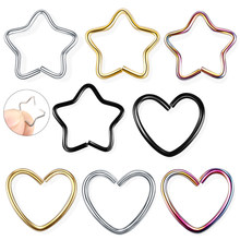 1PC 316l Surgical Steel Daith Heart Star Ring Cartilage Tragus Piercings Hoop Lip Nose Rings Orbital Ear Stud Helix Jewelry 20G(China)
