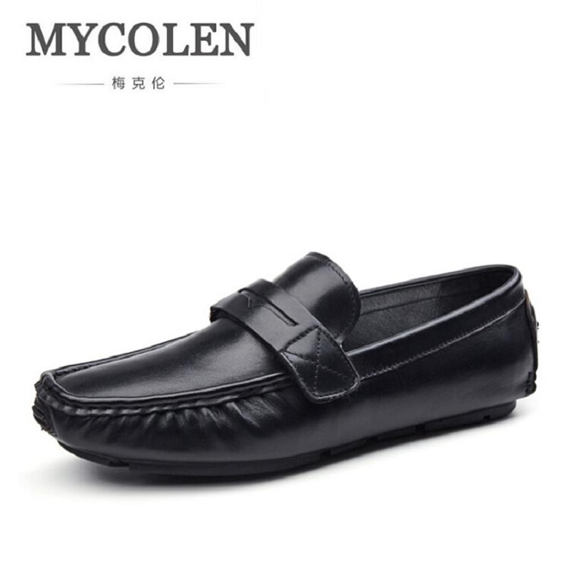 MYCOLEN Male Shoes Adult Black Shoes Fashion Party And Wedding Men Loafers Luxury Brand Men Casual Shoes Footwear Male vesonal 2017 brand casual male shoes adult men crocodile grain genuine leather spring autumn fashion luxury quality footwear man