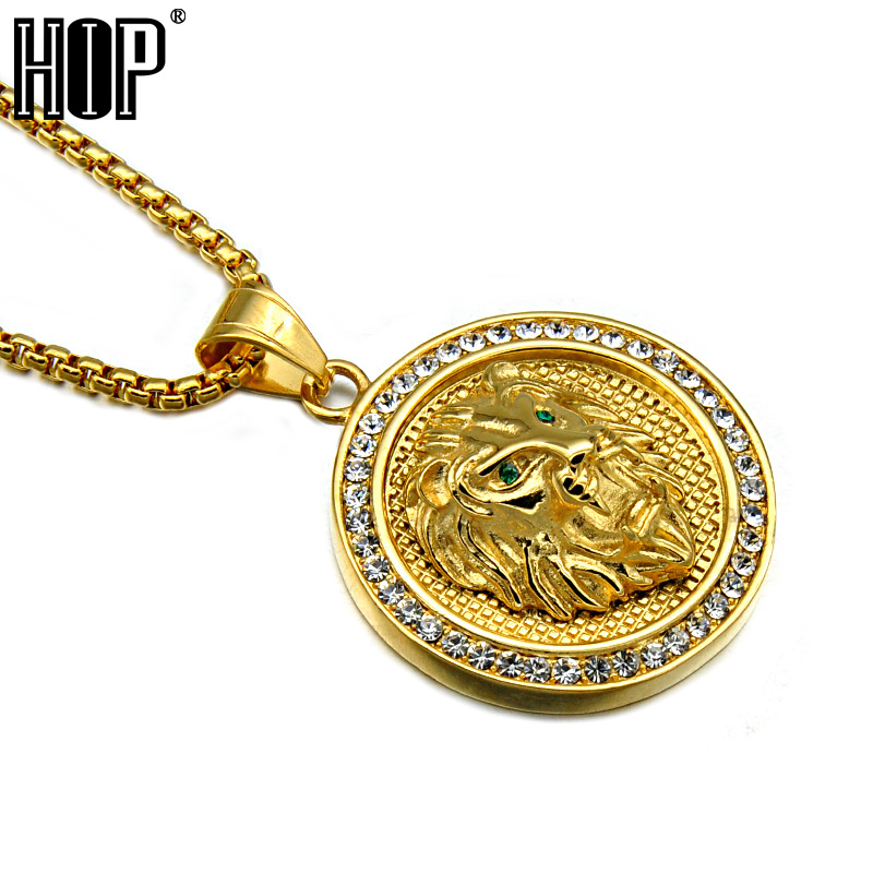 HIP Hop Rock Gold Color Titanium Stainless Steel Iced Out Bling Lion Head Pendants Necklaces for Men Jewelry
