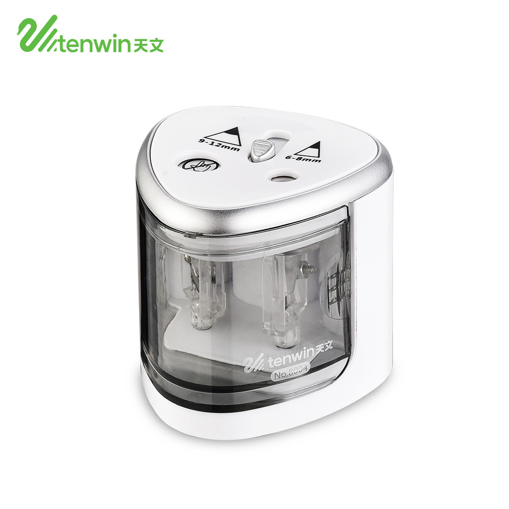 TENWIN Electronic Pencil Sharpener Creative Fashion Student Two Holes Electric Pencil Sharpener Apply To  6-8mm And 9-12mm 8004 high tech and fashion electric product shell plastic mold