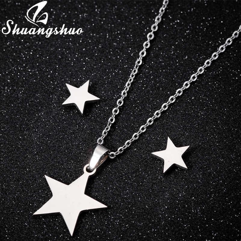 Shuangshuo נירוסטה זהב כוכב תליון שרשרת סטים תכשיטי עגילי לנשים כוכב קטן כלה חתונה עגיל סטים